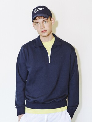Basic Half-Zip Sweatshirts (Navy)