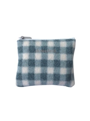 patel blue check pouch