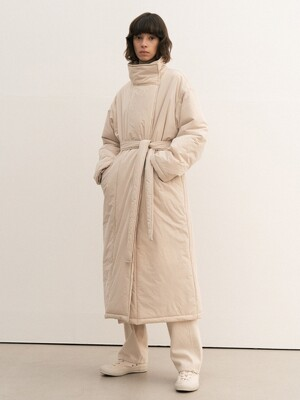 high-neck long padding coat (beige)