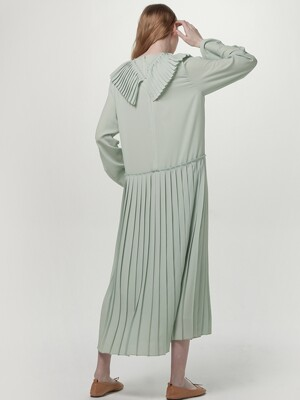 Pleated collar dress - Mint