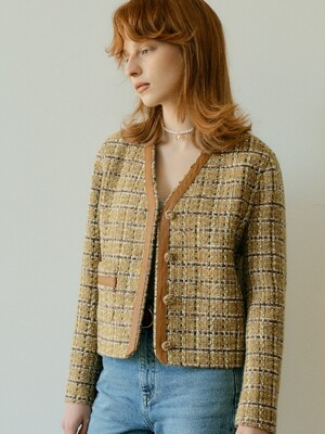 TWEED LINE SHORT JACKET - YELLOW