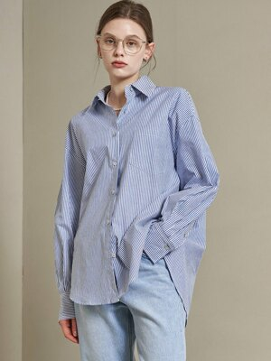 SI TP 5019 Oversized Cotton Shirt_Cobalt stripe