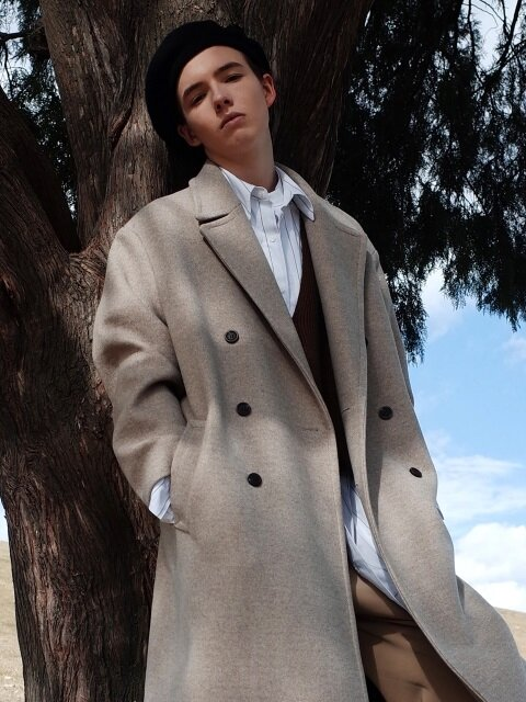 [UNISEX] OVERSIZED DOUBLE LONG COAT OATMEAL