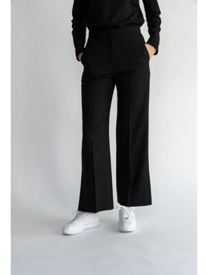 Wide Wool Stripe Pants /Black