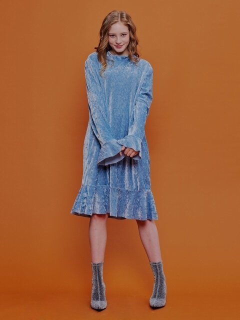 Twinkle Velvet Ruffle Dress _ Blue