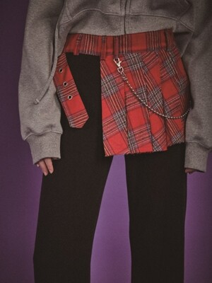 check belted skirt - RED