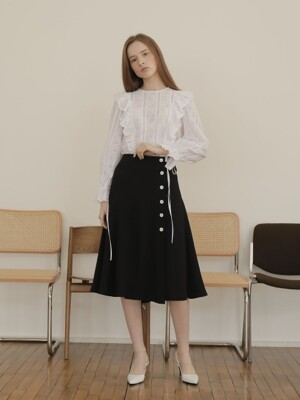 19SS BUTTON FLARE SKIRT /BLACK