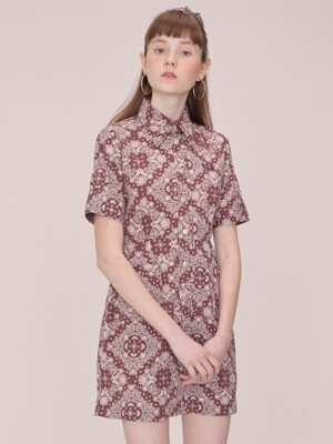 Paisley Dress with Scrunchie [MAUVE]
