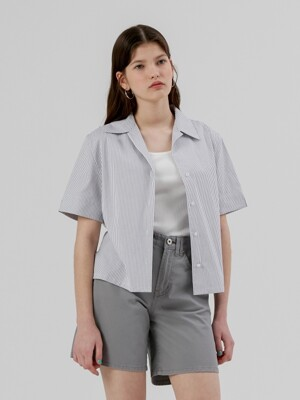 Crop Half Sleeve Open Shirt [Grey Stripe]