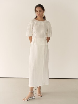 19RESORT LINEN SLIT WRAP SKIRT_2COLOR