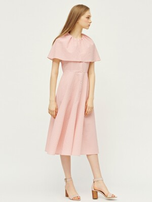PINK GINGHAM CHECK CAPE DRESS