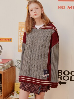 (KT-19535) SAILOR COLOR BLOCK KNIT GRAY