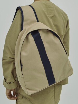 2WAY HIGH DENSITY BEIGE NAVY CANVAS BACK PACK