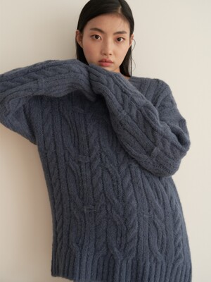 19AU ALPAKA V-NECK CABLE KNIT (BLUE)