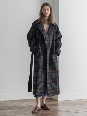 Wool Check Long Trenchcoat
