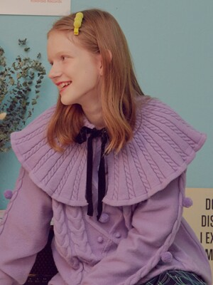 (MF-19737) KNIT CAPE COLLAR LAVENDER