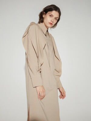 Multi-layered long sleeves shirtdress