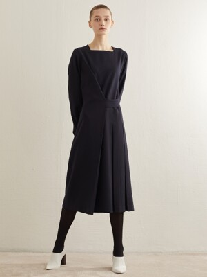 BUTTON WRAP DRESS_NAVY