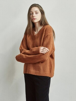 LOOSE V SWEATER_CAMEL