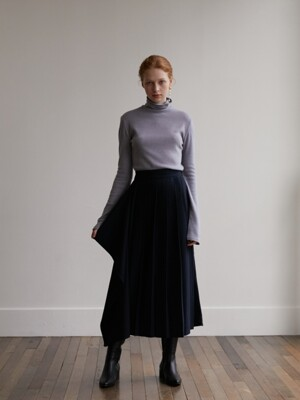 Three-way pleats skirt - Navy