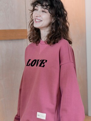 LT358_LOVE Sweat shirt_D/Rose