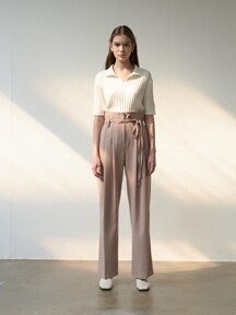 TTS BELTED TWO TUCK TROUSERS 2COLOR