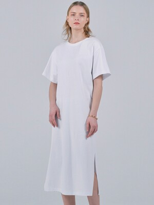 ESSENTIAL DOUBLE COTTON T-SHIRT DRESS - WHITE