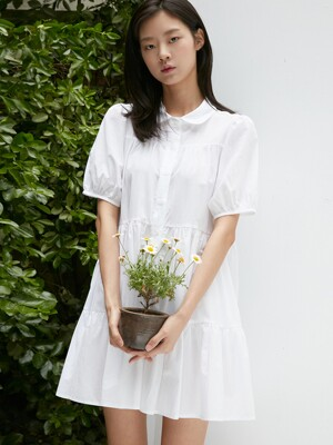 MINI FLARE SHIRT ONE-PIECE HALF SLEEVE BASIC WHITE