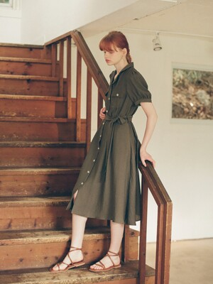 Woody Belt Dress_Khaki