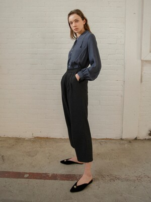 PLEATED WOOL-BLEND TROUSERS