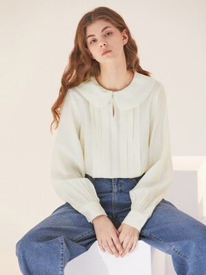 ROUND COLLAR PLEATS BLOUSE CREAM