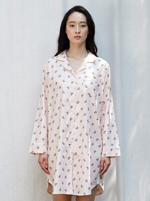 (W) RABBIT PINK LONG NIGHT SHIRT