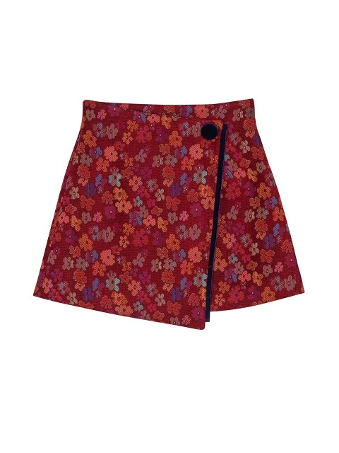 VELVET POINT MINI SKIRT_RED