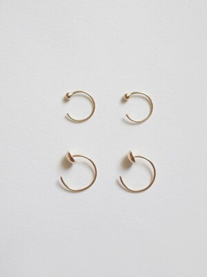 14k Gold Ball Post Ring Earring L,S size