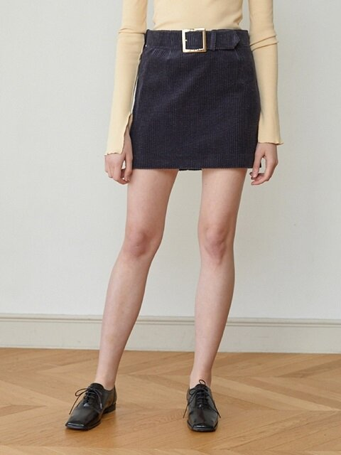 18FW CORDUROY BELT SKIRT (NAVY)