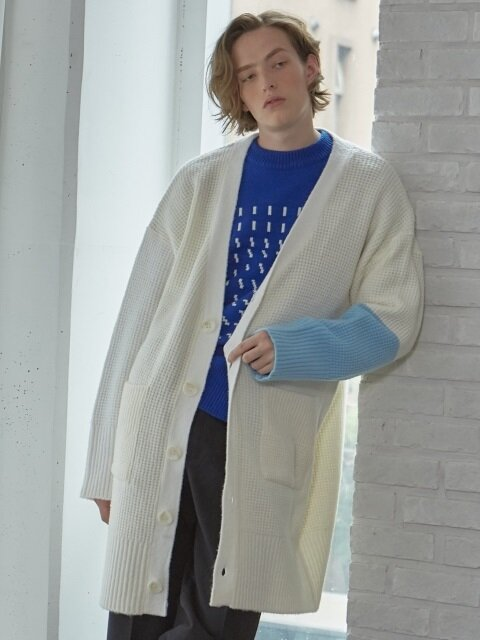 color sleeve long cardigan_IVORY