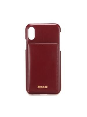 LEATHER iPHONE XS POCKET CASE - WINE