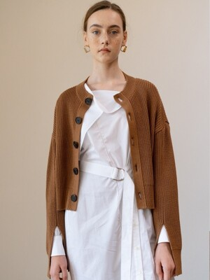SS19 Big Button Cardigan Brown