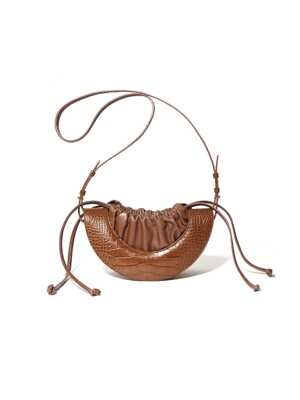 19SS HALF MOON DRAWSTRING BAG_BROWN(CROC)