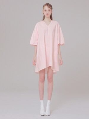 V-NECK detail dress 001 pink