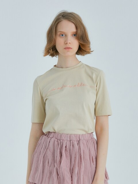 COTTON BASIC T-SHIRT - BEIGE