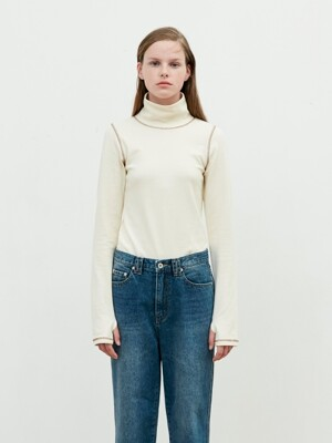 Basic Stitch Turtleneck [Cream]