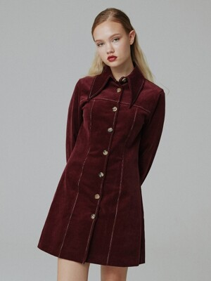 Corduroy stitch one-piece_wine