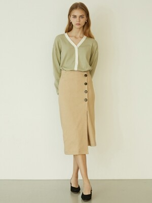 P Button Wrap Skirt_BE