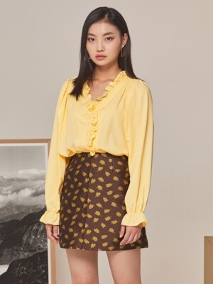FRILL V NECK BLOUSE YELLOW