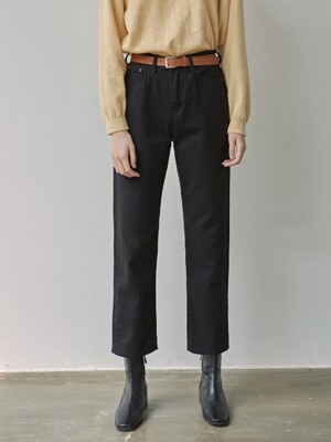 COZY COTTON STRAGHIT PANTS_BLACK