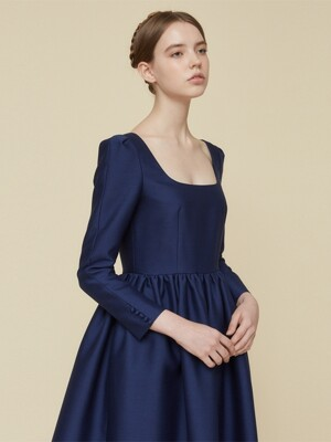 ROYAL BLUE SILK MIKADO DRESS