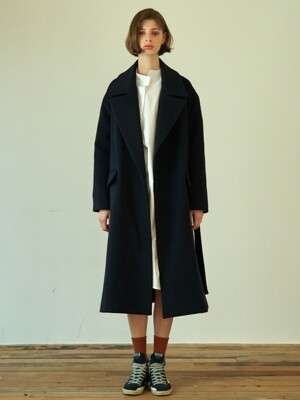 over fit a-line coat (dark navy)
