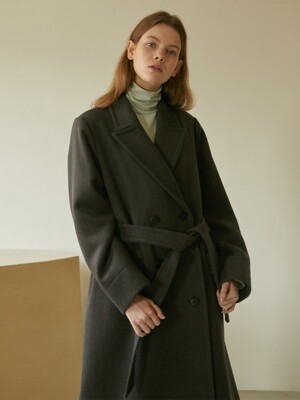 19W HEAVY WOOL DOUBLE BELTED COAT (CHARCOAL)