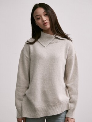 wool unbalanced turtleneck knit_gray